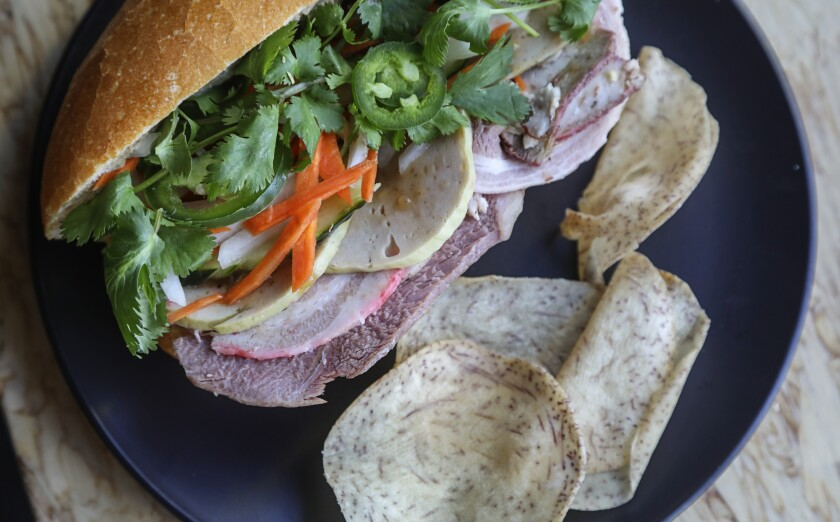 A bánh mì sandwich made by chef Duy Nguyen.