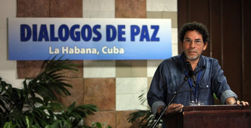 FARC guerrilla negotiator known as Pastor Alape speaks to journalists at Conventions Palace in Havana on April 15.