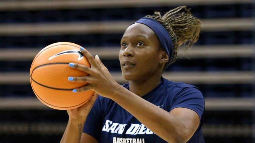 Maya Hood (shown in an earlier workout) finishes her career as USD's all-time leading rebounder (991) and third all-time leading scorer (1,677 points).