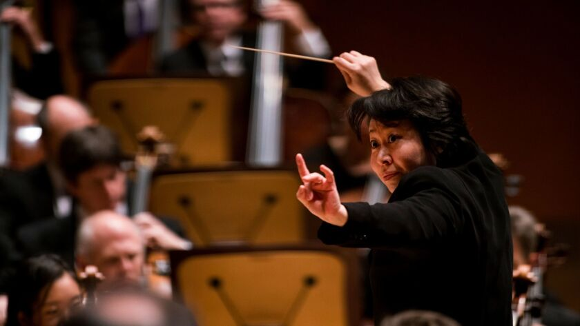 "Xian Zhang conducts the Los Angeles Philharmonic in Chen Yi's ""Ge Xu (Antiphony)"" at Walt Disney Concert Hall on Friday morning."