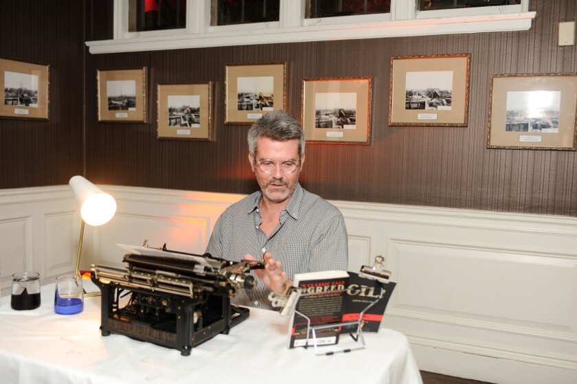"""Tim Youd's performance piece """"Retyping Upton Sinclair's Oil! on an Underwood #5"""" was among the 30 artworks, performances and interventions on display at the first biannual LAXArt benefit gala at Greystone Mansion in Beverly Hills on Saturday."""