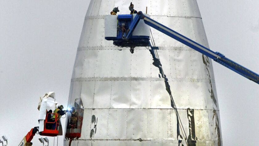 The prototype Starship that SpaceX will test at the Boca Chica Beach site near Brownsville, Texas.