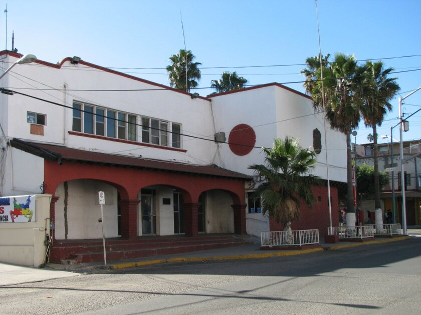 A view of the old Tijuana station and adjoining jail prior to their demolition.