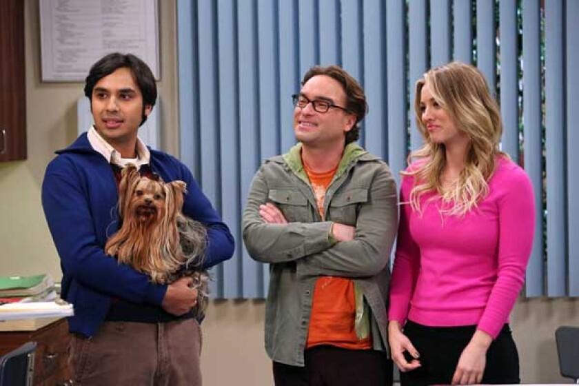 "Kunal Nayyar, left, Johnny Galecki and Kaley Cuoco in ""The Big Bang Theory"" on CBS."