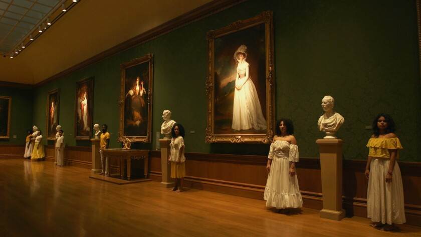 "A still from ""Apariciones / Apparitions,"" a video project by Carolina Caycedo, filmed at the Huntington."