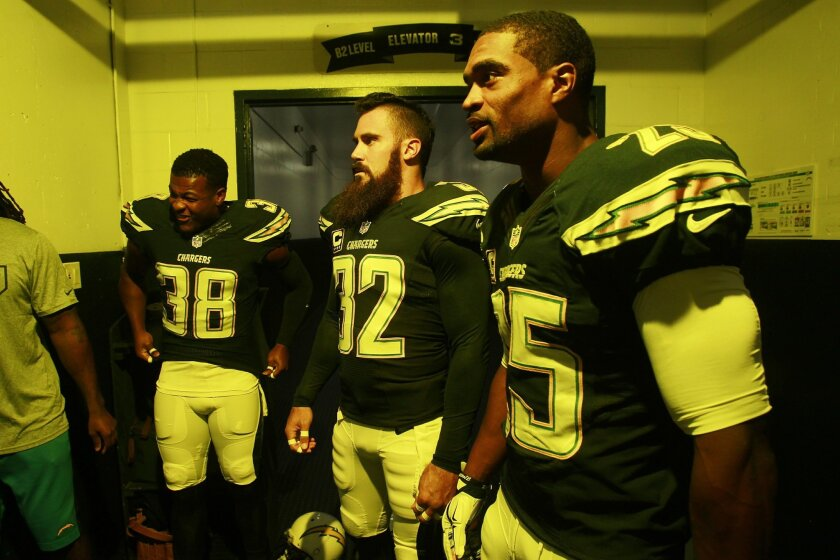 Chargers Marcus Glchriest, Eric Weddle, and Darrell Stuckey gather before the Rams game.