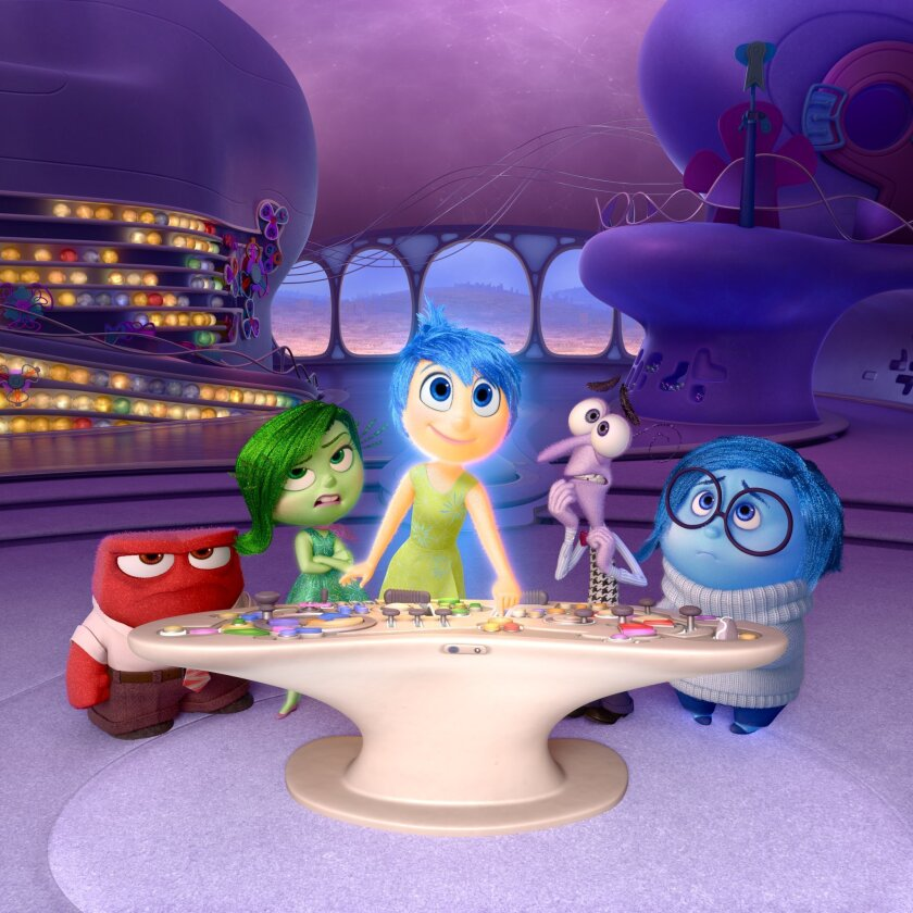 """In this image released by Disney-Pixar, characters, from left, Anger, voiced by Lewis Black, Disgust, voiced by Mindy Kaling, Joy, voiced by Amy Poehler, Fear, voiced by Bill Hader, and Sadness, voiced by Phyllis Smith appear in a scene from """"Inside Out."""" The 43rd annual Annie Awards were a joyous"""