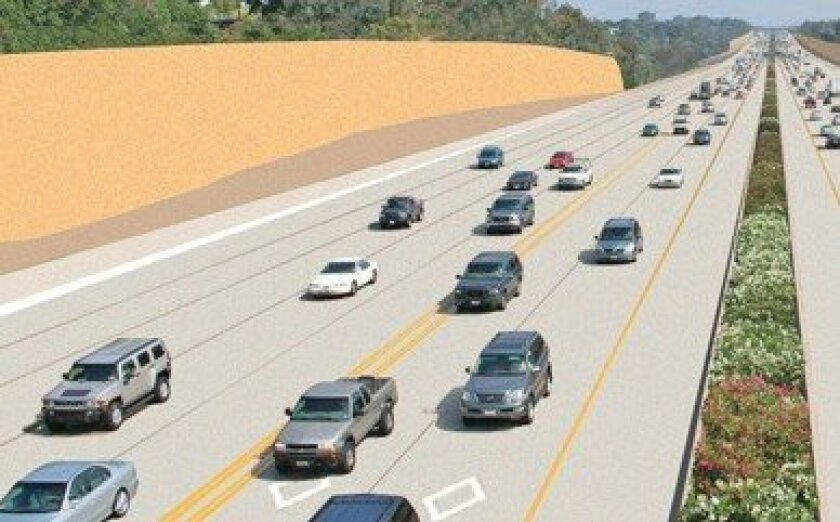 The North Coast Corridor Program calls for the addition of a tollway-carpool expressway along Interstate 5, with two lanes in each direction.