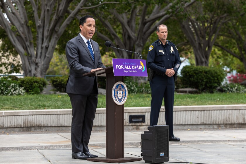 Mayor Todd Gloria speaks to the media on Thursday to discuss a report by the Center for Policing Equity.