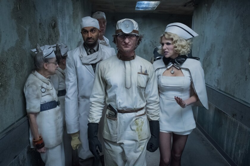 """Usman Ally, Neil Patrick Harris (center) and Lucy Punch in """"A Series of Unfortunate Events."""""""