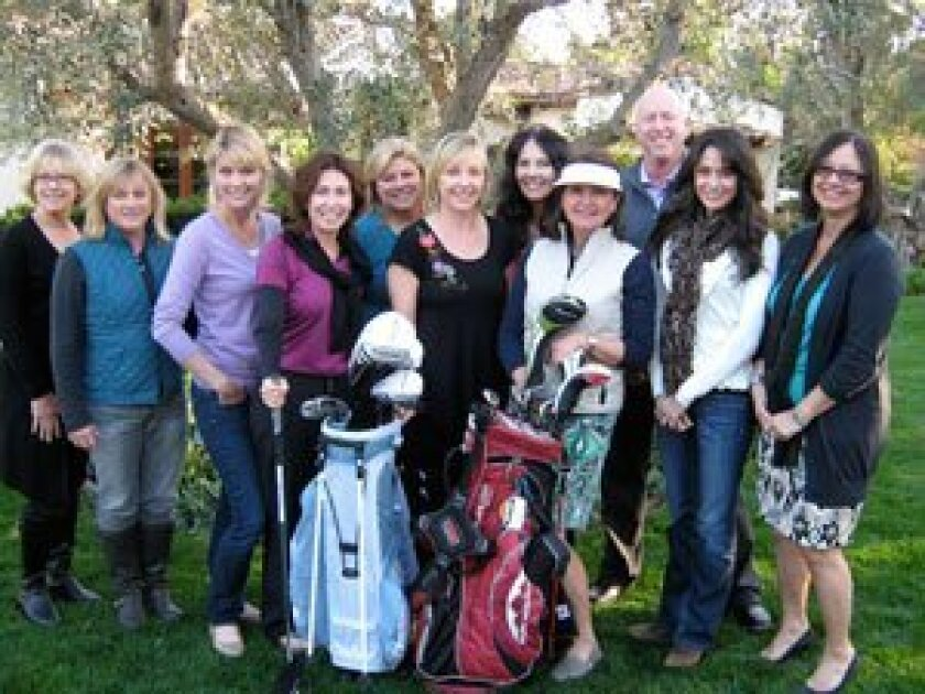 """Volunteers are getting ready for the 8th annual """"Tee It Up For Foster Teens"""" golf tournament, auction and dinner that will be held on April 23. Funds raised from this fun event will support the foster teens of San Pasqual Academy. Pictured left to right are: Donna Schempp, Madeline Javelet, Karen Ventura, Jennifer Dunn, Monica Sheets, Ellie Cunningham, Teri Summerhays, Carole Markstein, Chairperson Dave Scherer, Andrea Reynolds and Lois Jones."""