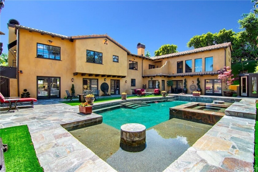 A view of the pool at the Spanish-style home in Encino of actor Shemar Moore.