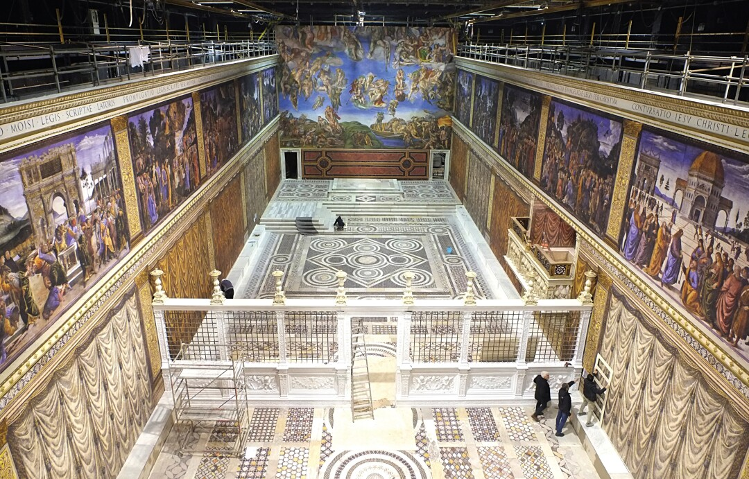 """""""We can technically say that we made the bigger Sistine Chapel,"""" joked """"The Two Popes"""" production designer Mark Tildesley."""