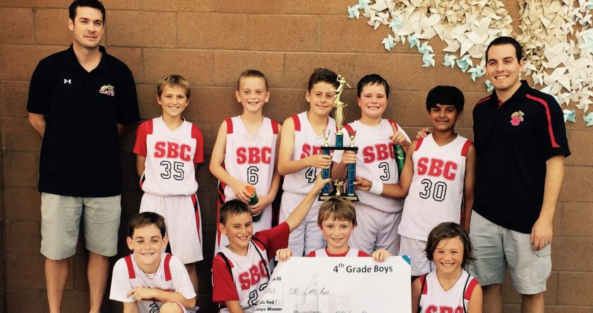 Congratulations to coaches Kris Corso, Chad Bickley and the Solana Beach Cats Boys fourth-grade Red basketball team members, who were the Top Gun fall basketball league champions!