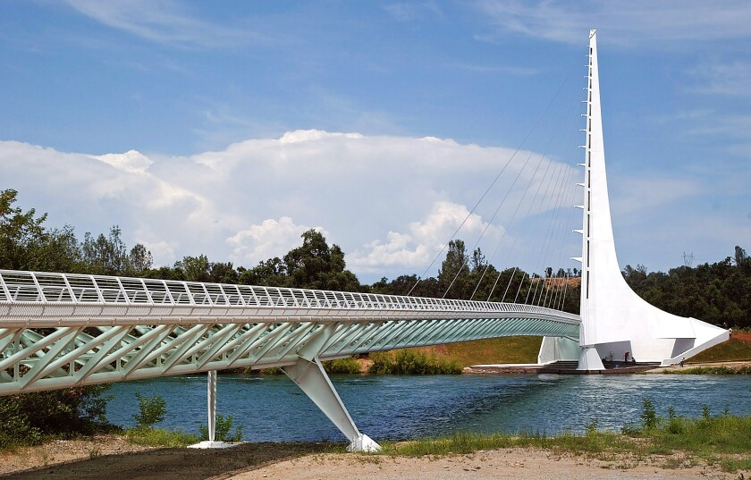 The Sun Dial Bridge is seen from the Sacramento River in Redding, Calif.