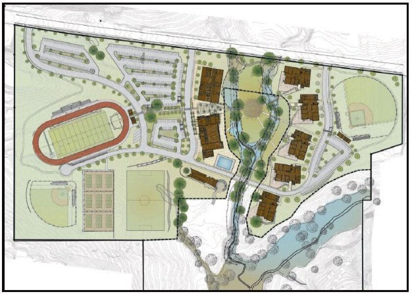 The site plan for the Grossmont district's 12th high school, expected to open for 800 students in Alpine in 2013.