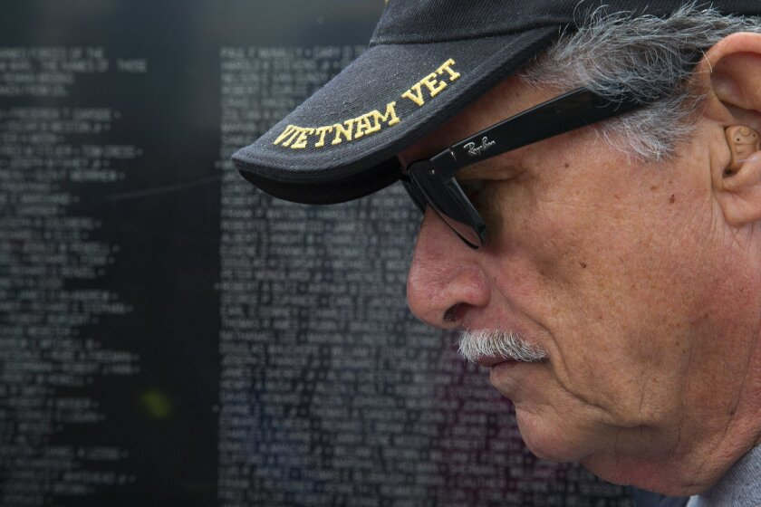 Vietnam veteran Pete Mestre was a young Marine serving in Vietnam in 1968-1969 and came to visit the replica of the Vietnam Veterans Memorial on board the USS Midway Museum flight deck.