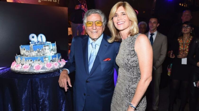 Singer Tony Bennett and his wife, Susan, are shown last month at Radio City Music Hall in New York.