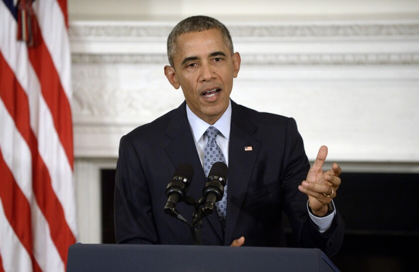 President Obama speaks during a news conference Friday at the White House.