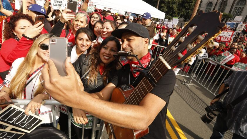 LOS ANGELES, CA - JANUARY 18, 2019 - - Tom Morello, with Rage Against the Machine, takes a picture w