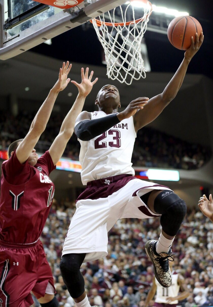 Texas A&M's Danuel House (23) drives past South Carolina's Laimonas Chatkevicius (14) during the first half of an NCAA college basketball game, Saturday, Feb. 6, 2016, in College Station, Texas. (AP Photo/Sam Craft)