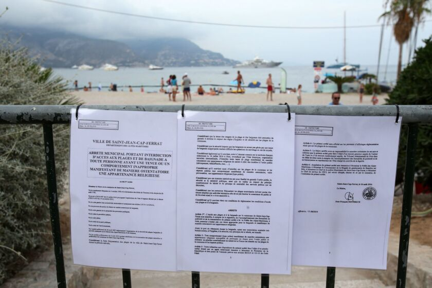 Warning to beachgoers at Saint-Jean Cap Ferrat that burkinis are banned