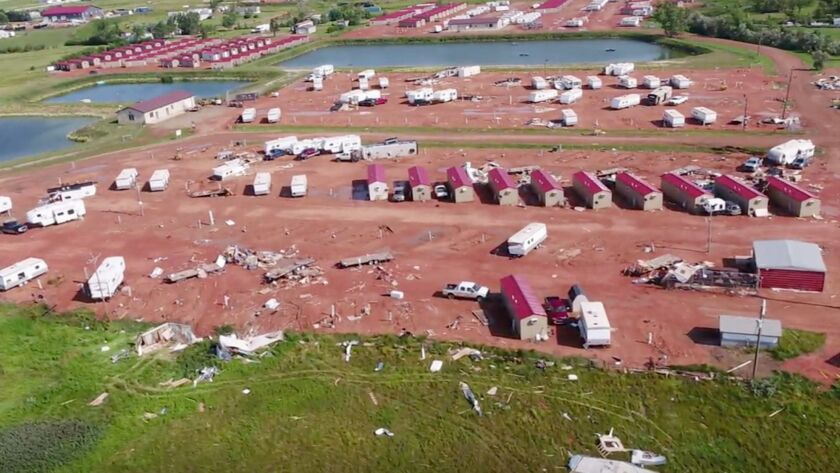 This aerial image from video, shot with a drone provided by HRI Aerial Imaging, shows damage at an R