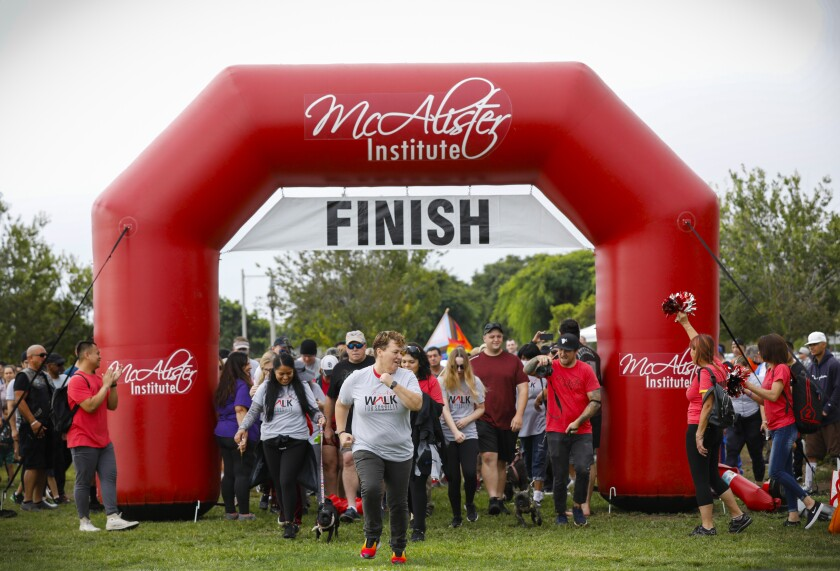 Hundreds of people start the 5K Walk for Sobriety at NTC Park on Saturday.