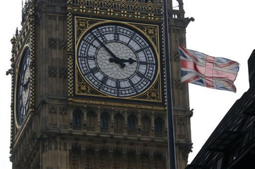 A British union flag flies at half-staff atop Portcullis House, backdropped by Big Ben's clock tower in London, Monday, April 8, 2013, in respect for former British Prime Minister Margaret Thatcher who died Monday following a stroke at age 87. Flags were flown at half-staff at Buckingham Palace, Parliament and Downing Street in honour to the 87-year old Iron Lady, and Queen Elizabeth II authorized Thatcher to have a ceremonial funeral to be held at St. Paul's Cathedral in London with military h