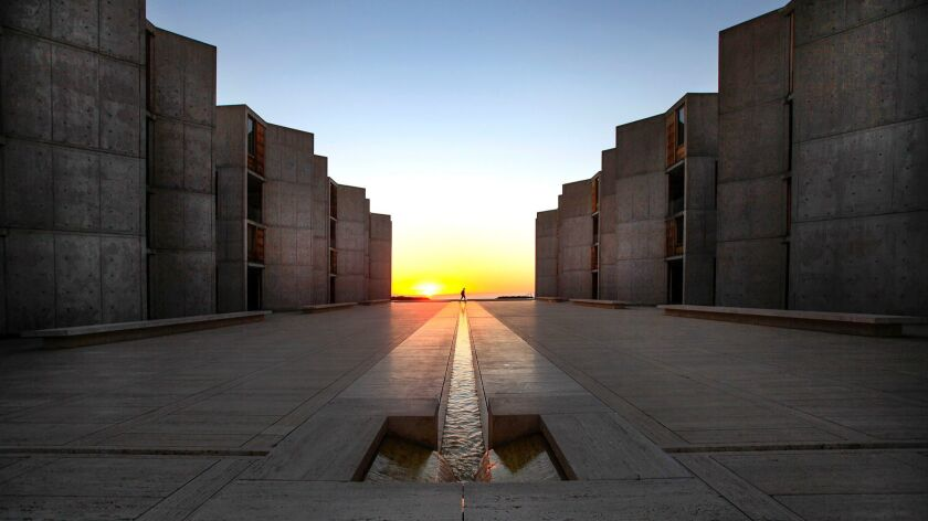 The Salk Institute for Biological Studies in La Jolla is considered to be one of architect Louis Kahn's masterpieces, hailed for its use of site and light and space. It was begun in 1959 and completed in 1965.