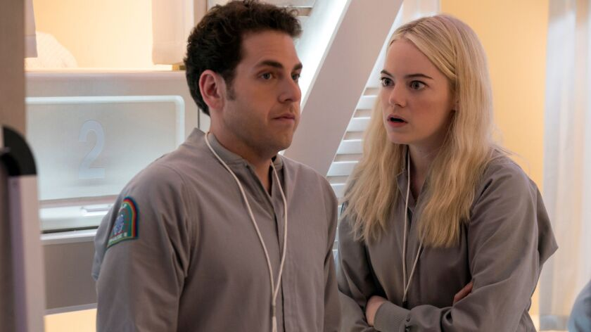 """Jonah Hill and Emma Stone in a scene from Netflix's """"Maniac."""""""