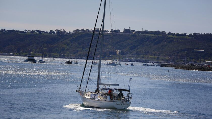 Mitsuhiro Hiro Iwamoto and Doug Smith (right) leave San Diego Bay on test run in their 40-foot sailb