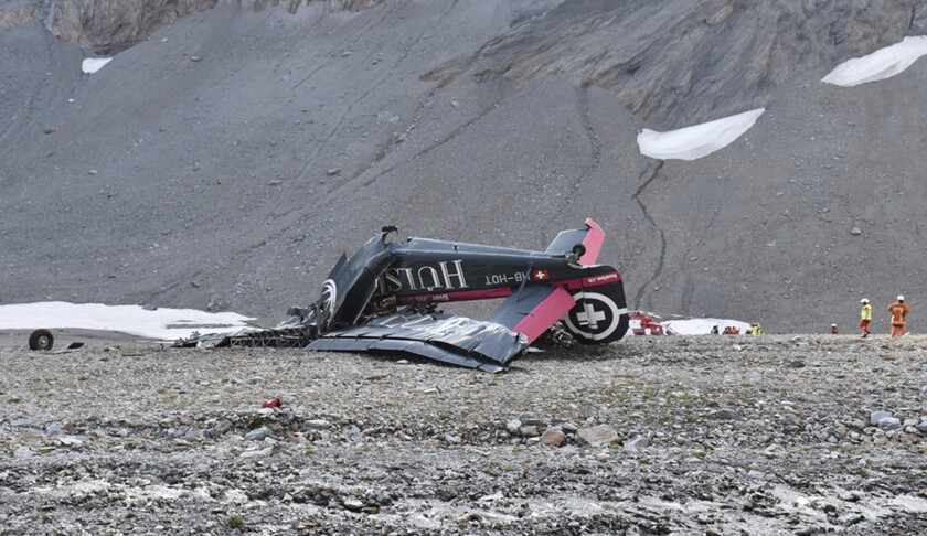 The photo provided by Police Graubuenden shows the wreckage of the old-time propeller plane Ju 52 a