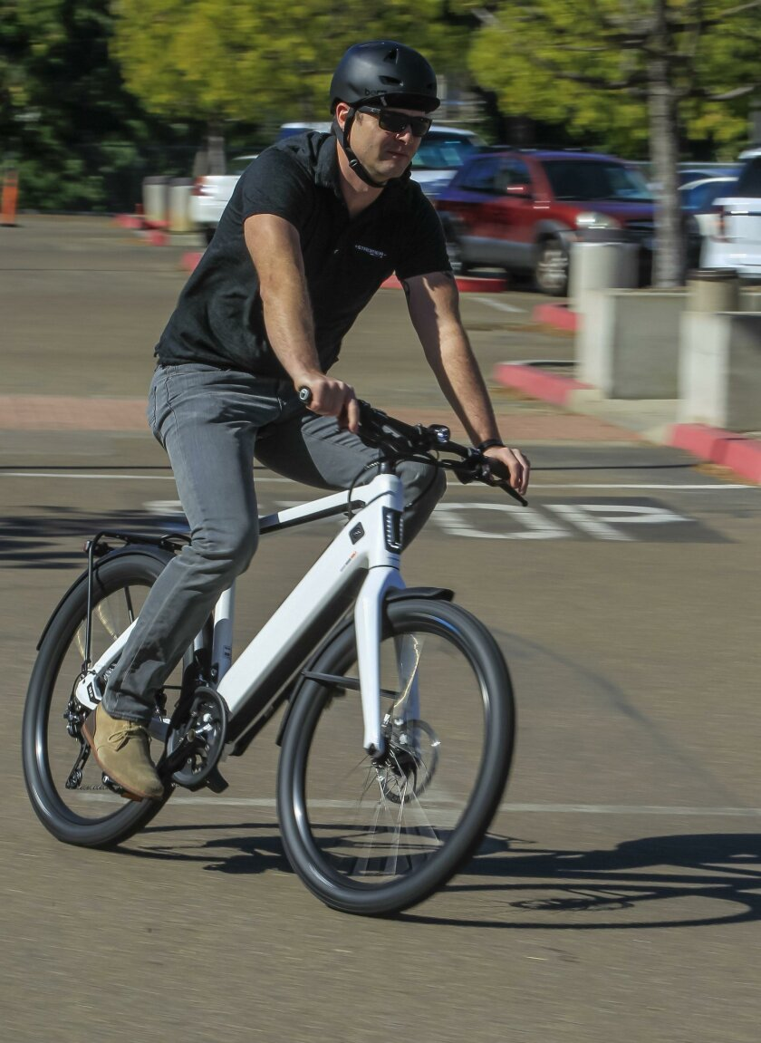 Scott Anderson rides the Stromer ST-2 electric bike. Pricetag: $6,990.