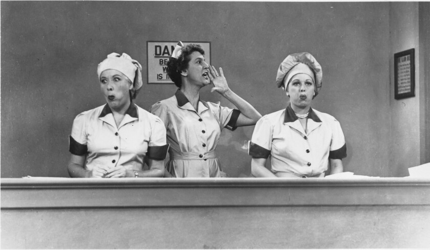 """Vivian Vance, left, Elvia Allman and Lucille Ball in an """"I Love Lucy"""" episode based on the See's operation."""