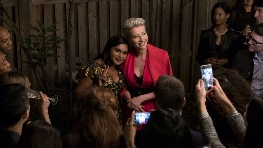 "(L-R)- Mindy Kaling and Emma Thompson in a scene from ""Late Night."" Credit: Emily Aragones/Amazon St"