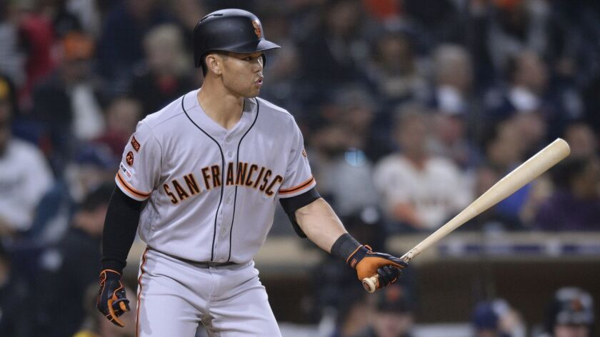San Francisco Giants' Connor Joe bats during the fifth inning of a baseball game against the San Die