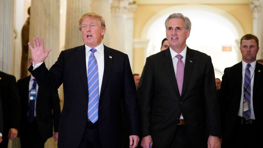 President Trump and House Minority Leader Kevin McCarthy (R-Bakersfield) in 2018.