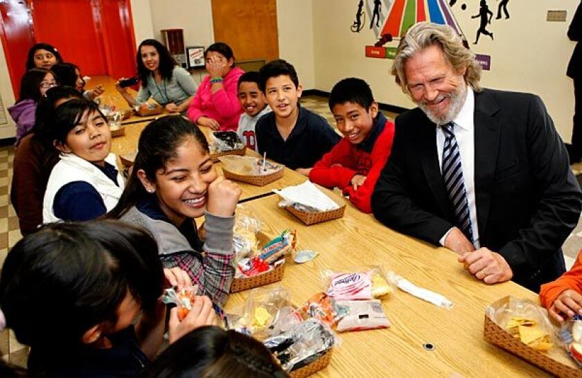 Actor Jeff Bridges chats with schoolchildren at Figueroa Street Elementary School at a kickoff event for No Kid Hungry.