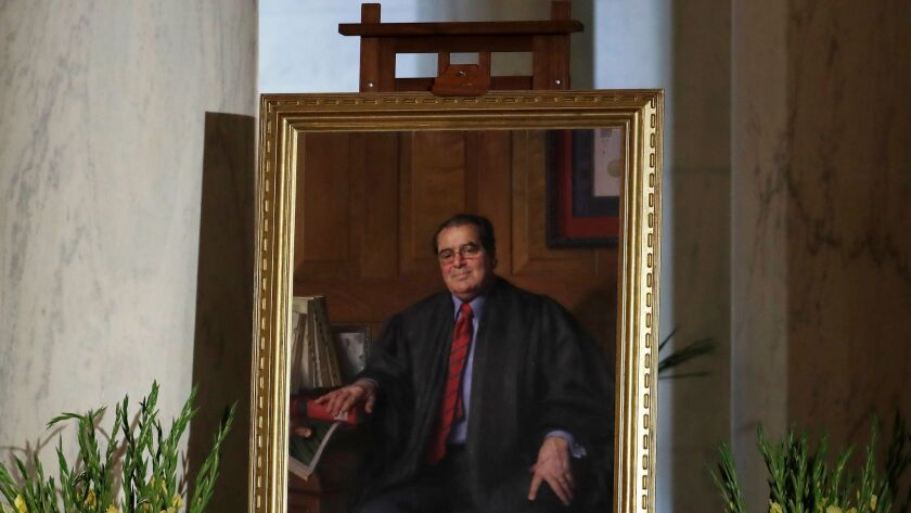 A portrait of late Supreme Court Justice Antonin Scalia.