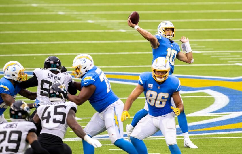 Chargers quarterback Justin Herbert unleashes a pass against the Jacksonville Jaguars.