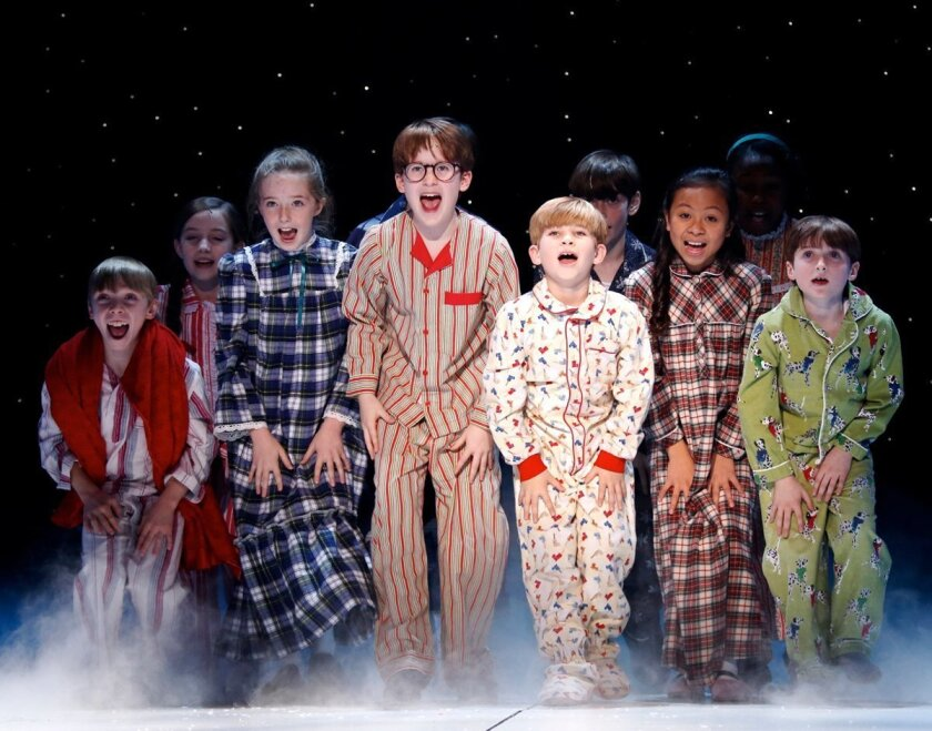 """Noah Baird, fifth from right, as Randy Parker in """"A Christmas Story, The Musical,"""" which will play at New York's Madison Square Garden in December. CREDIT: Carol Rosegg"""