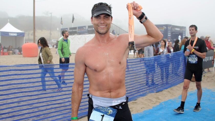 Actor Colin Egglesfield doesn't just participate in triathlons. He wins them.