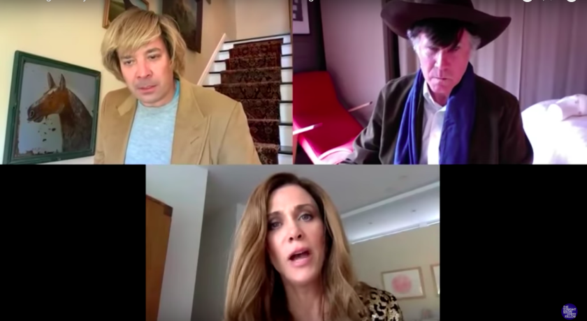 """Jimmy Fallon, top left, Will Ferrell and Kristen Wiig created a spoof called """"The Longest Days of Our Lives"""" inspired by the quarantine."""