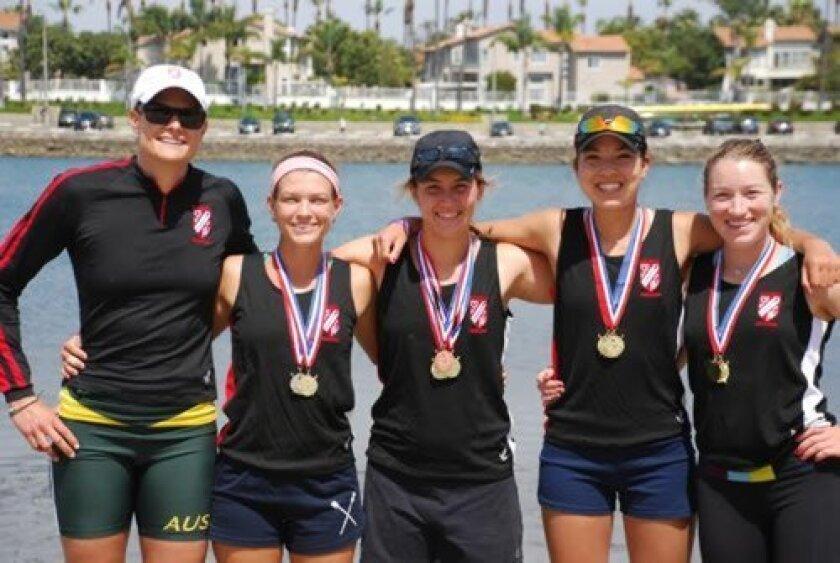 San Diego Rowing Club Women's Coach Susan Francia with team medalists Sarah Hoskin, Jillian Renly, Mariko Kelly and Marissa Gibson at the April 12-13 Long Beach Invitational Regatta. Courtesy
