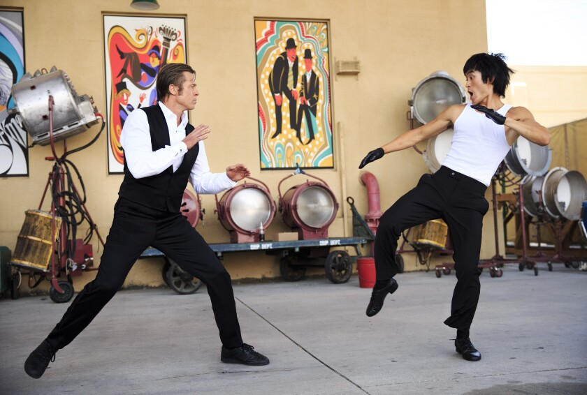 """Brad Pitt fights """"Bruce Lee"""" as played by Mike Moh"""