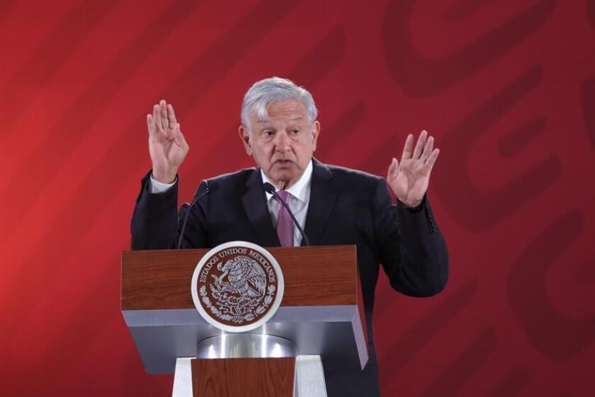 El presidente de México, Andrés Manuel López Obrador, ofrece su rueda de prensa matutina en Palacio Nacional, en Ciudad de México (México). EFE/Archivo