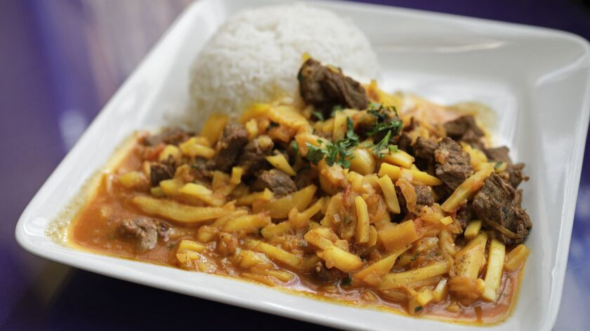 LOS ANGELES, CA -- OCTOBER 26, 2018: Olluquito con carne (tuber stew with beef) at Intiraymi in Los