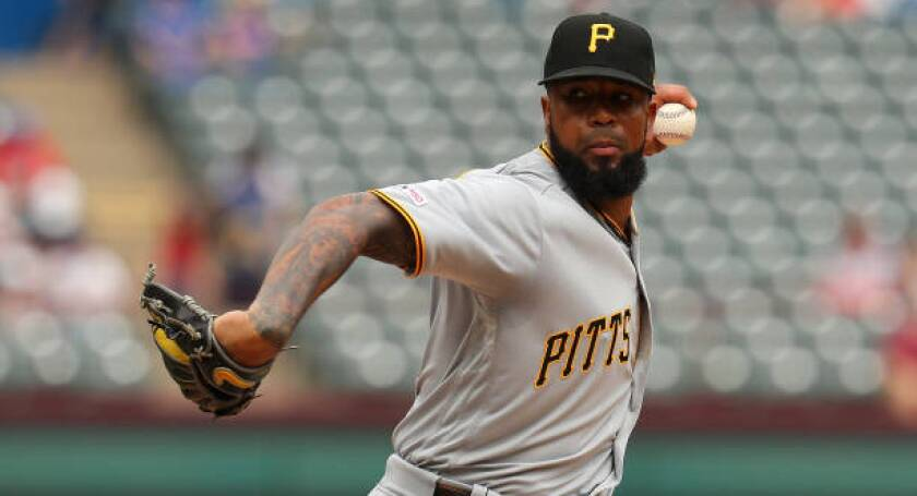 Pittsburgh Pirates pitcher Felipe Vazquez is the top reliever on the trade market.