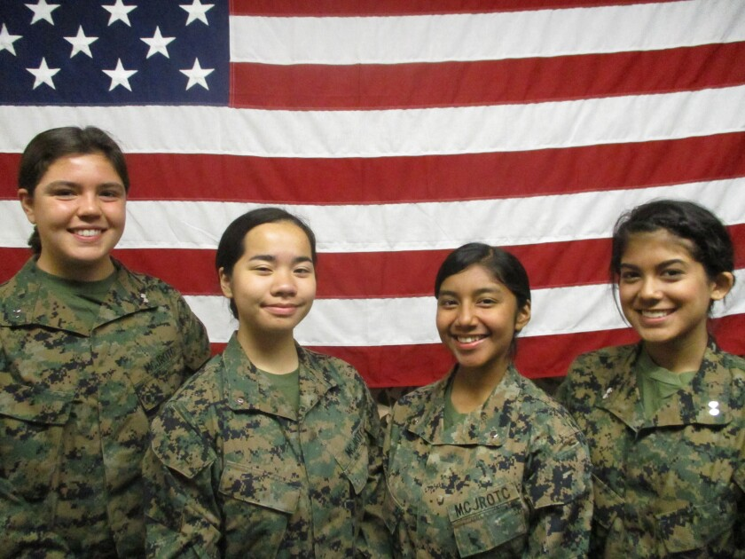 The MCJROTC Academic Team from Fallbrook High recently competed in Washington, D.C. From left: cadets Audrey Gillcrist, Angelina Lauser, Zurisadai Trinidad and Jade Joseph.
